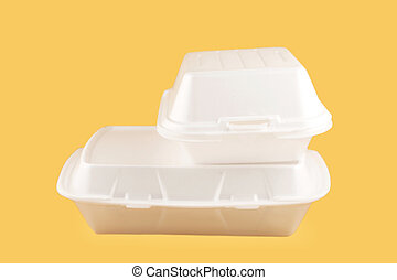 takeout containers - two different sized takeout styrofoam...