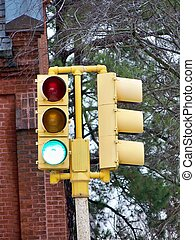Traffic Light - A stop light that is green at the moment.