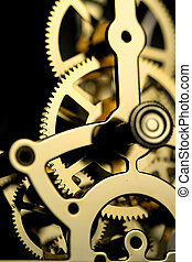 Clock Mechanism - Extreme close up shot of clock gears