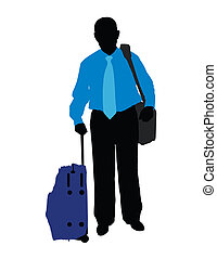 traveller - silhouette of man in the blue shirt isolated on...