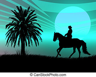 Equestrian in the sunset - Woman riding with her horse in...