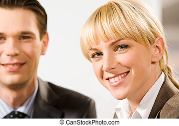 Business woman - Face of young smiling woman with charming...
