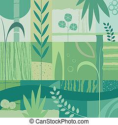vegetal background - abstract decorative vegetal design;...