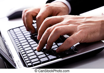 Human hands - Horizontal image of typing human hands