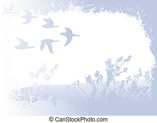 flying birds - landscape with silhouettes of flying birds;...