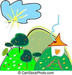child like drawing - landscape - vector - child like drawing...