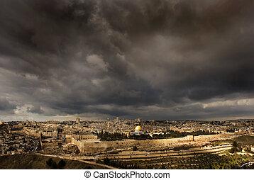 a, santissimo, cidade, Jerusalém, F