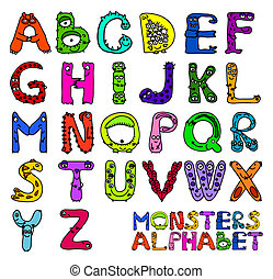 Monsters alphabet - English alphabet letters as monsters
