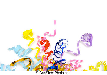 Colorful ribbons - Colorful festive ribbons on a white...