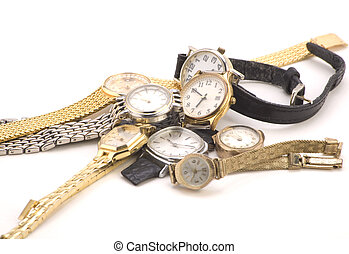 Multiple Wrist watches isolated on a white background