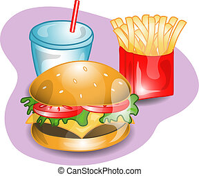 Complete cheeseburger lunch - Illustration of a complete...