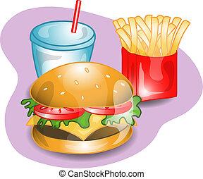 completo, cheeseburger, almoço