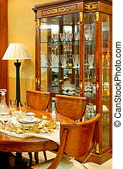 Antique room - Old dinning room with big table and closet