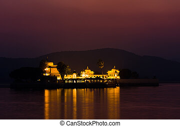 Jagmandir palace at night - Night view of Lake palace island...
