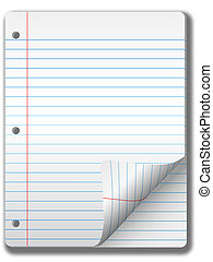 Wide Ruled Notebook Paper Pages and Page Curl Background -...
