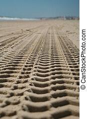 Plaża, ślad, wózek