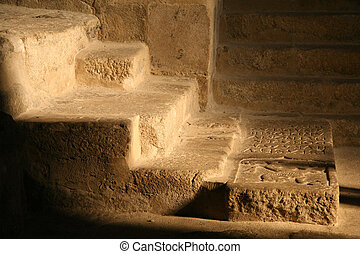 tomb stairs - nobleman tomb and stairs indoor a church in...