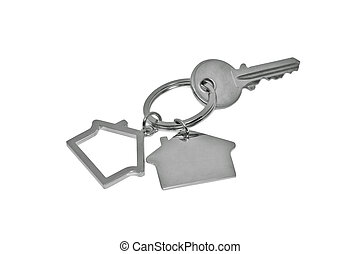 house key - A key with a blank tag isolated on white. (with...