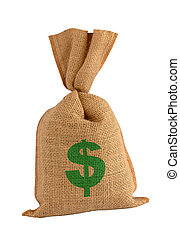 Bonus sack - Canvas us dollar sack. Isolated on white with...