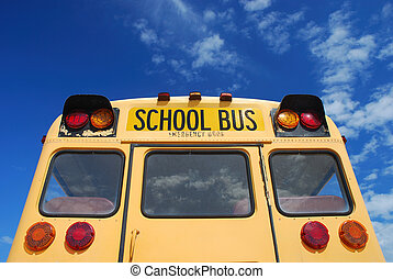 school bus - Yellow school bus against blue sky