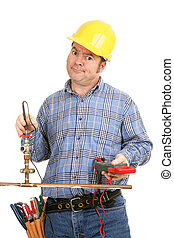 Unskilled at Plumbing - Construction worker trying to do...