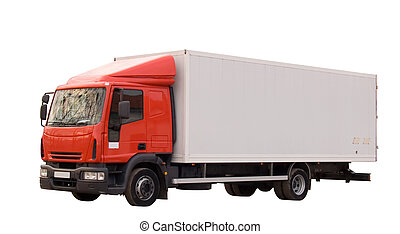 Truck isolated on white background Working path included