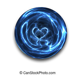 crystal ball heart - a love heart is seen the sparks and...