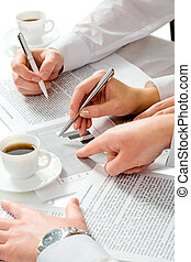 Working hands - Close-up of teamwork: business people�s...