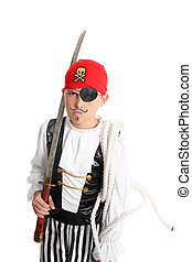 Pirate holding a sword and mariners rope