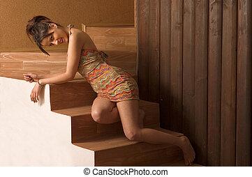 Hot brunette girl - Hot sexy brunette girl posing on stairs