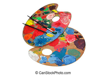 Paint brushes and pallet