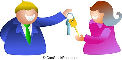 key couple - happy business man handing keys to happy woman...