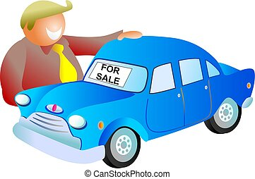 car sale - man looking at a car for sale - icon people...