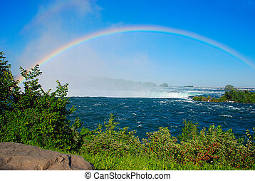 Rainbow on Niagara falls - Bright rainbow on Niagara falls