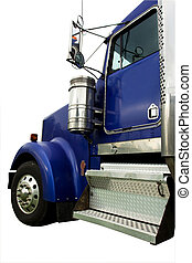 blue truck cab - large heavy blue truck isolated on white