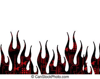 tecnologia, fiamme, pagina