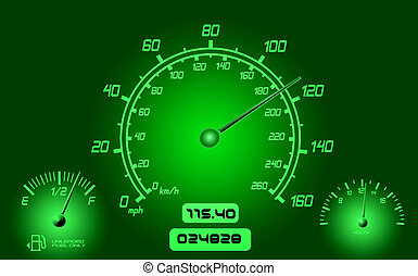 Car Gauges - Computer generated instrument panel with dials...