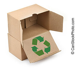 cardboard boxes with recyclable symbol - close-up of...