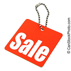 Sale tag isolated on pure white background, there is no...