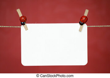 Blank memo sheet of white paper hanging on the rope. Place...