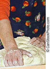 Handmade bread - Kneading handmade bread dough