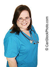 Beautiful Plus-sized Nurse - Beautiful plus sized woman in...