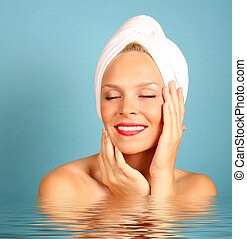Relaxed Woman - Woman With a Towel on Hair Awaiting Spa...