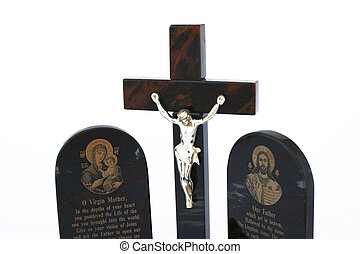 Cross with Jesus and prayers isolated on the white