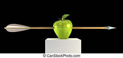pierced apple - 3d scene with pierced apple by arrow