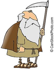 Father Time - This illustration depicts an old man in a robe...