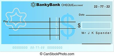 dollar cheque - generic cheque design made out in American...