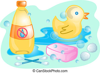 Baby bath set illustration - Illustrations of different baby...