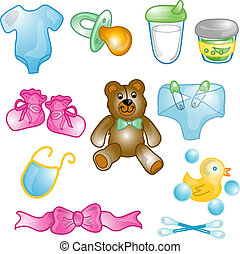 bebê, ícones, jogo