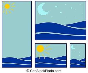 sea illustrations - simple vector illustration of blue sea...